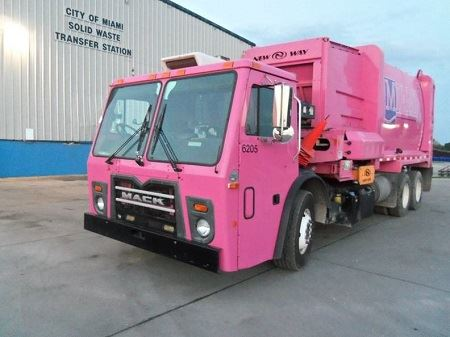 Pink Automated Solid Waste Truck