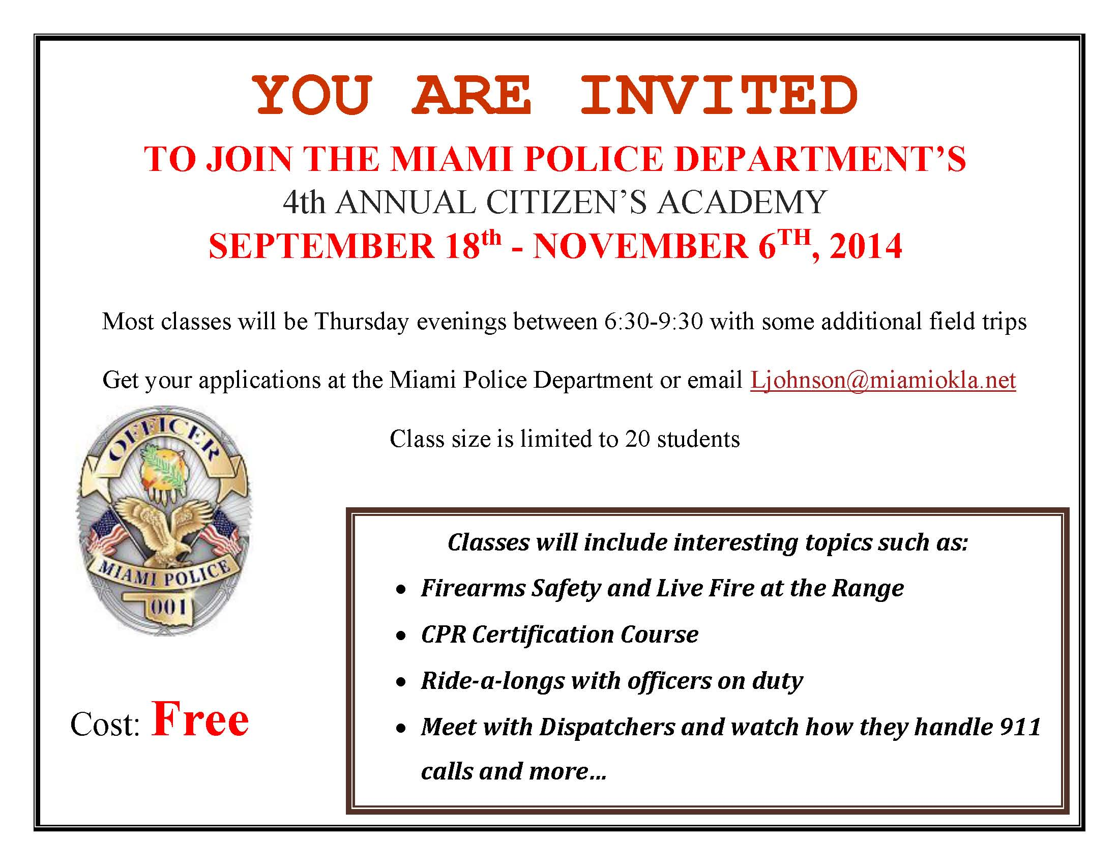 Citizens Academy Flyer